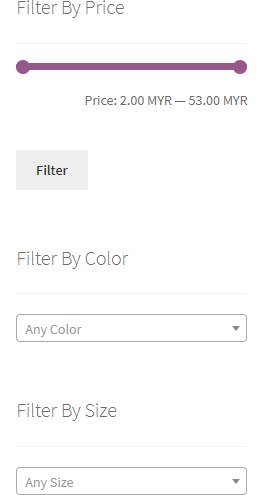 Filtering By Price, Color And Size